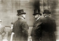 John Pierpont Morgan 1837_1913, American financier, with two associates in 1907
