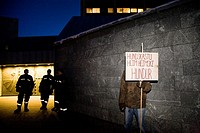 Demonstrators at The Central Bank of Iceland  They are demanding that Central Bank manager Davíð Oddson steps down and takes his responsibility for th...