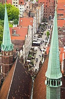 View on old town of Gdansk from tower of St  Mary´s Church