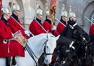 The Queen's lifeguards on horseback during 'changing of the guard' at horse guards parade, London, England