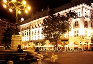 Cafe Gerbeaud_Haz in the evening with night lighting, Budapest, Hungary, Southeast Europe