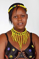 A young woman in traditional ceremonial Zulu dress  South Africa  Isolated