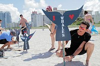 Florida, Miami Beach, Greenpeace, demonstration, protest, Save the Whales, sign, man,
