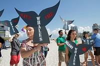 Florida, Miami Beach, Greenpeace, demonstration, protest, Save the Whales, sign, group, supporters, Hispanic, woman,