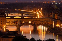Florence  Arno river at Dusk  Ponte Vecchio at dusk  Tuscany  Italy  Europe.