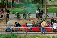 miniature trains, Vallparadis park, Terrassa, Catalonia, Spain.