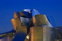 Night view of Guggenheim Museum facade, Bilbao, Vizcaya, Basque Country, Spain, Europe