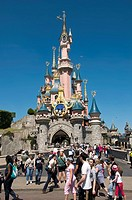 Paris, France, Theme Parks, People Visiting Disneyland Paris, Sleeping Beauty Castle