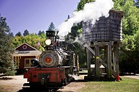 A steam train arrives at Roaring Camp depot