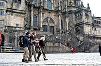 Pilgrims arriving to Santiago de Compostela. Galicia, Spain