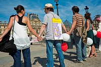Paris, France, People Protesting Nuclear Energy, Human Chain at Louve Museum Pyramid