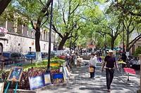 Art market in Jardin de las Rosas, Morelia, Michoacan state, Mexico, North America
