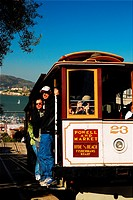 Cable car and Alcatraz, San Francisco