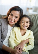 USA, New Jersey, Jersey City, portrait of smiling mother embracing daughter 6_7