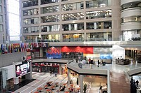 Georgia, Atlanta, CNN Center, atrium, store, shopping, flags, CNN en Espanol, Spanish language, offices
