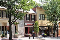 Pennsylvania, Bethlehem, historic downtown, Main Street, business, store window, shopping, tree lined street, sidewalk, bench, quaint,
