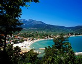 Picturesque view of Skala Potamias a popular resort on the island of Thassos