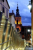Outdoor escalators Vitoria old city Alava Spain