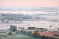 Mist covered countryside at dawn near Pennorth, Brecon Beacons National Park, Powys, Wales, United Kingdom, Europe