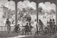 An elephant fight, Baroda, India in the 19th century  From El Mundo en la Mano, published 1878