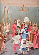 The Tournament Prize  A high born lady about to present her scarf to a tournament winner  From the 15th century manuscript Tournaments of King Rene  F...