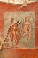 Hercules with Neptune and Amphitrite fresco, Collegio degli Augustali College of the Augustans, Herculaneum, UNESCO World Heritage Site, Campania, Ita...