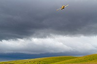 A small crop dusting plane flies above central California crops in cloudy conditions, USA