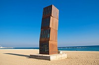 L´Estel Ferit (Wounded Star), sculpture by Rebecca Horn at Platja de Sant Sebastia beach, Barcelona, Catalunya, Spain