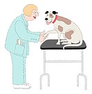 A Groomer Checking a Dog´s Paw