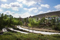Pathway behind neoeclectic housing community with landscaping