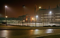Urban Soccer Field at Night