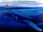 Humpback Whale and Small Row Boat