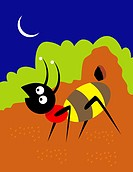 Ant And Crescent Moon