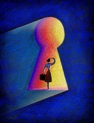 Woman in keyhole door