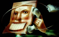 Man with Laptop Head and Telephone