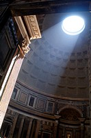 Beam of light in the Pantheon, Rome, Italy