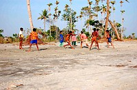A group of children playing Kabadi, the National game of Bangladesh, at the beach of Kuakata, in Patuakhali, Bangladesh Kuakata, locally known as 'Sag...