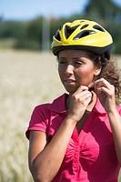 A woman wearing a safety helmet, Sweden.