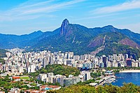 Guanabara Bay from Pao de Acucar, Sugarloaf Mountain, Flamengo beach, Centro, and Corcovado in background, Rio de Janeiro, Rio de Janeiro, Brazil