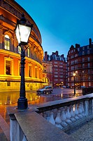 England, London, The Royal Borough of Kensington and Chelsea, The Royal Albert Hall  Ornate street lamp outside the Royal Albert Hall