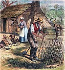 BLACK SHARECROPPERS, 1870.Black sharecroppers in the American South: colored engraving, 1870.