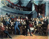 HENRY CLAY, 1850.Henry Clay offering his California Compromise to the Senate on 5 February 1850. Contemporary engraving after the painting by Peter Fr...