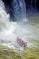 Boat with tourists , Iguacu Falls, Iguacu National Park, Brazil