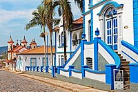 Church ,street scene, Mariana, Minas Gerais state, Brazil, South America