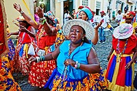 Street carnival, dance group,Pelourinho,Salvador ,Bahia,Brazil