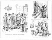 CHOLERA: HAMBURG, GERMANY.Scenes in Hamburg, Germany, during the cholera epidemic in 1892. Left: Travelers from Hamburg are inspected at the Bremen ra...