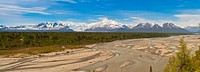 A panoramic scenic of the south side of the Alaska Range and Mount McKinley as seen from the Parks Highway and Susitna River look out, Southcentral Al...