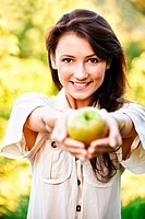 Beautiful girl with apple