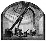 George Bishop´s observatory. Historical artwork showing the interior of the observatory built by George Bishop, after it´s move to Twickenham, London,...