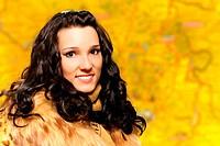Portrait of brunette in fur coat